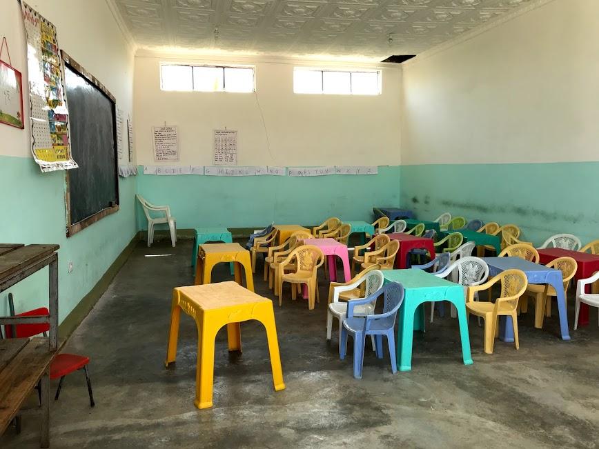 trieda, kde sa deti aj učia
