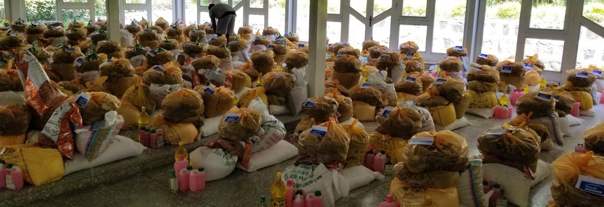Bishoftu Etiopia Skoly Potravinove banky Balíčky jedla